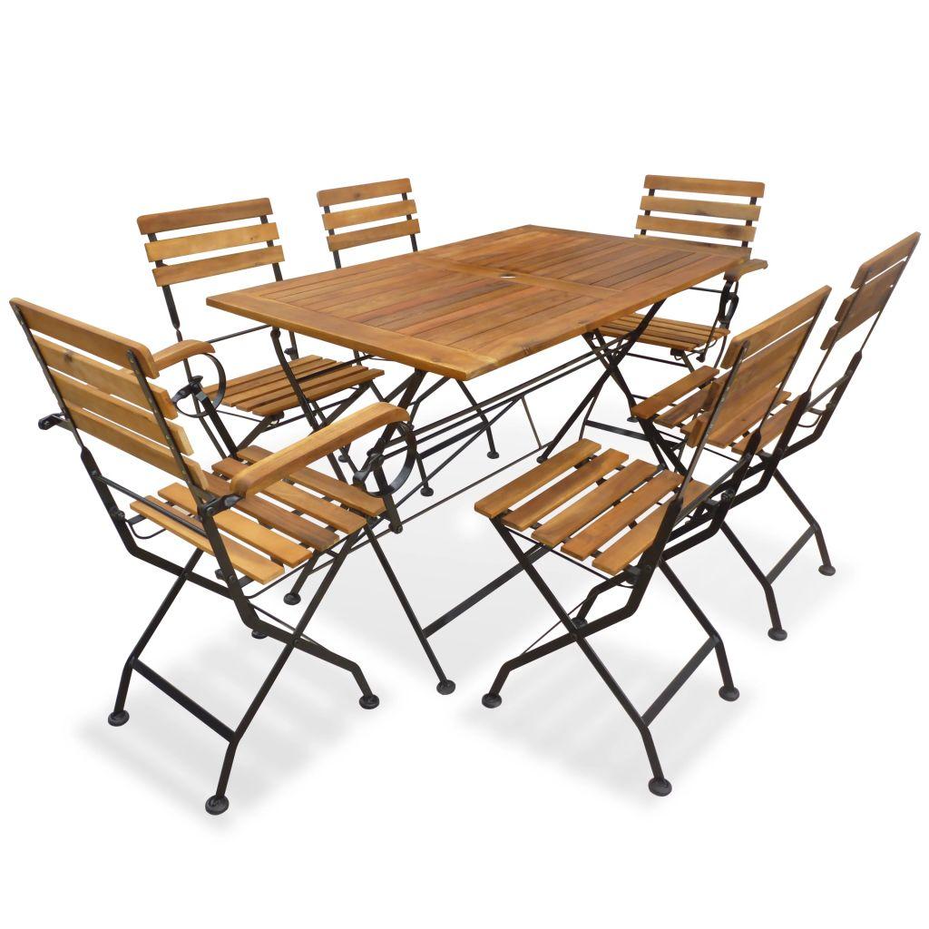 Groovy Vidaxl Outdoor Dining Set 7 Piece Acacia Wood Garden Foldable Table Chairs Evergreenethics Interior Chair Design Evergreenethicsorg