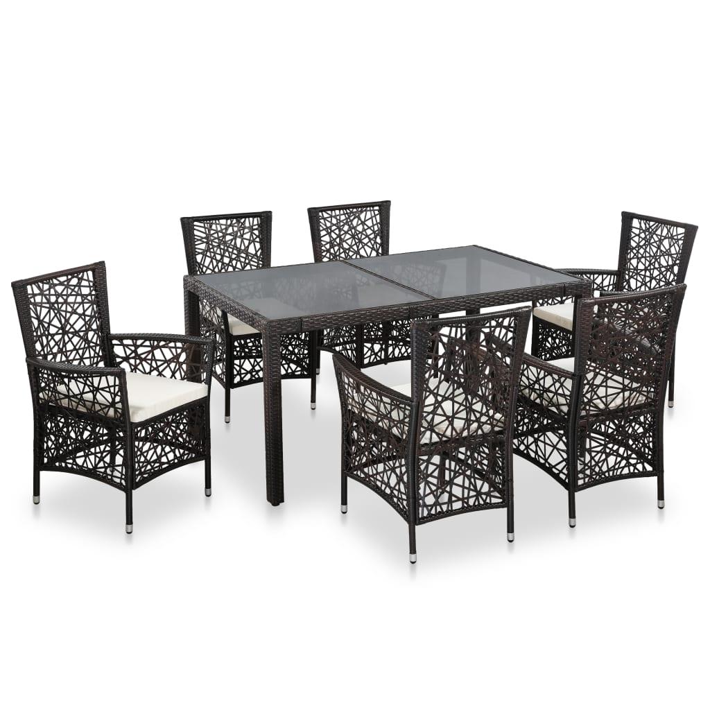 Vidaxl Outdoor Dining Set 7 Piece Poly Rattan Brown Folding Bar