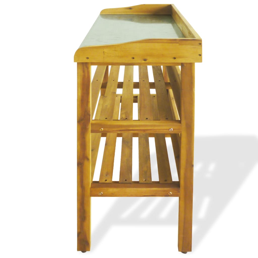 VidaXL Potting Bench With 2 Shelves Solid Acacia Wood And