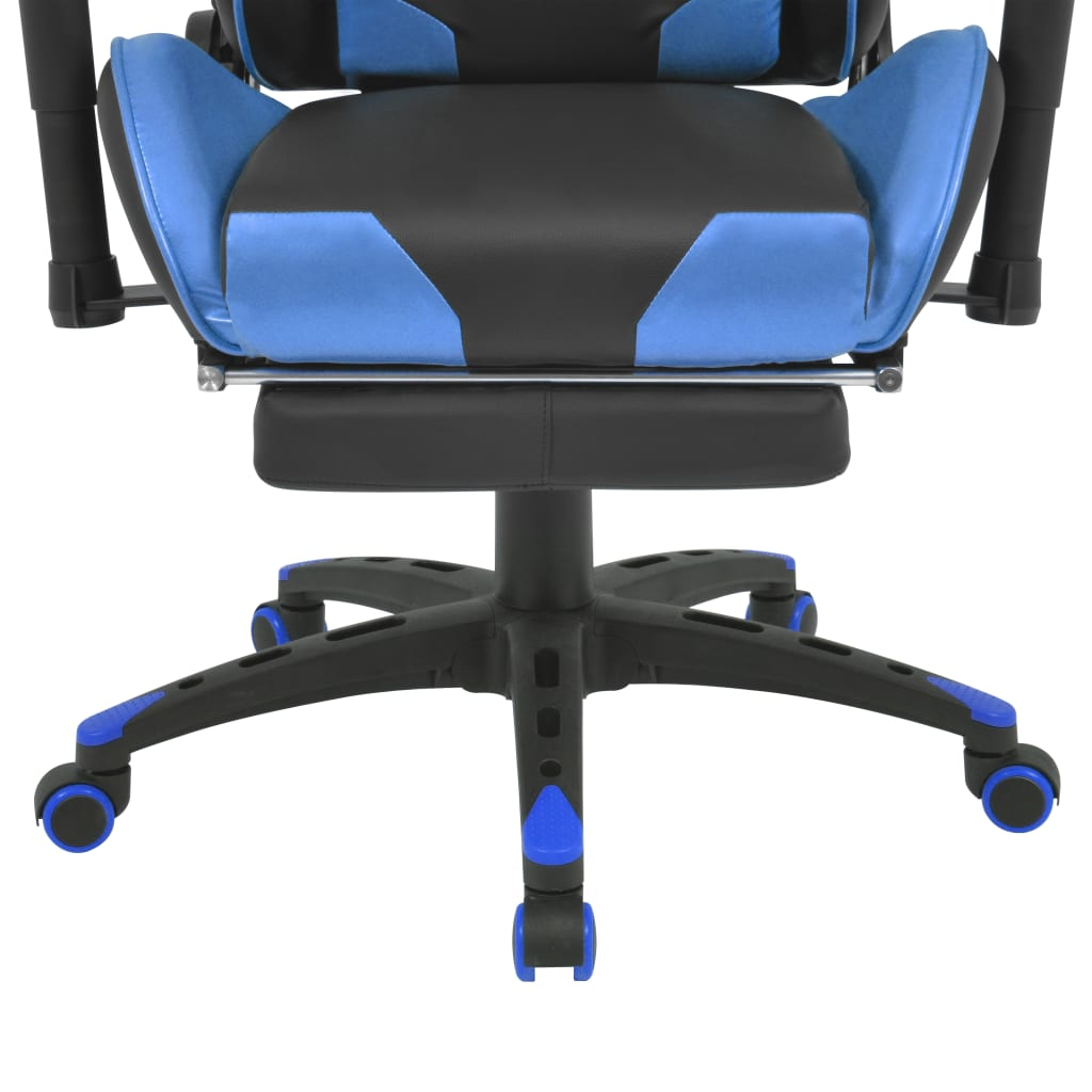 vidaXL Reclining Office Racing Chair with Footrest Blue ...