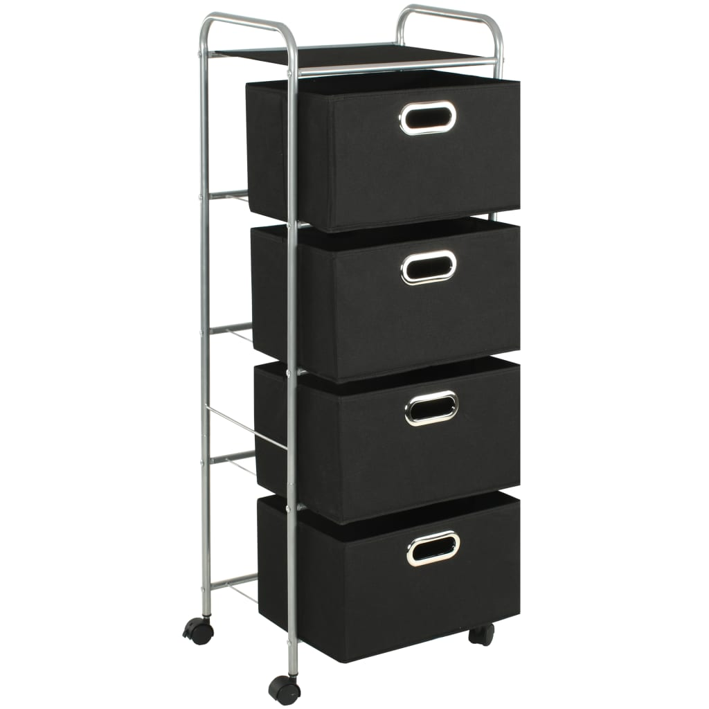 vidaXL Shelving Unit with 4 Storage Boxes Steel and Non ...