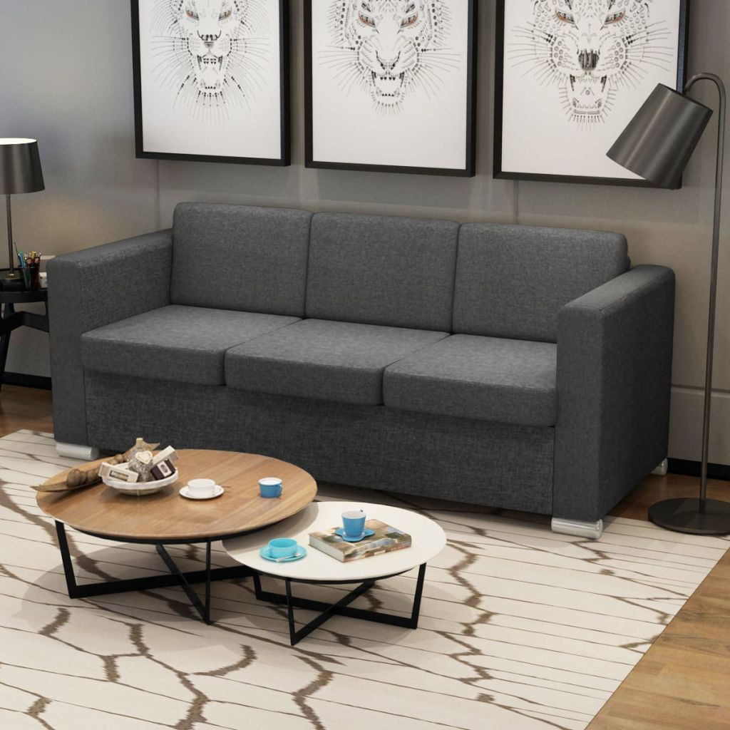 Grey Lounge Suite: VidaXL Sofa 3 Seater Fabric Dark Grey Lounge Couch Suite
