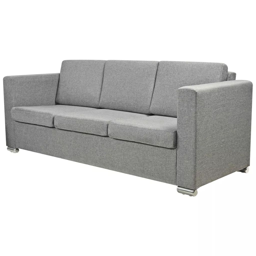 Grey Lounge Suite: VidaXL Sofa 3 Seater Fabric Light Grey Lounge Couch Suite