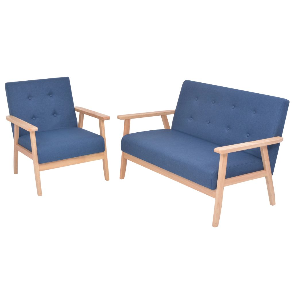 Vidaxl Sofa Set 2 Piece Fabric Blue Home Living Room Couch