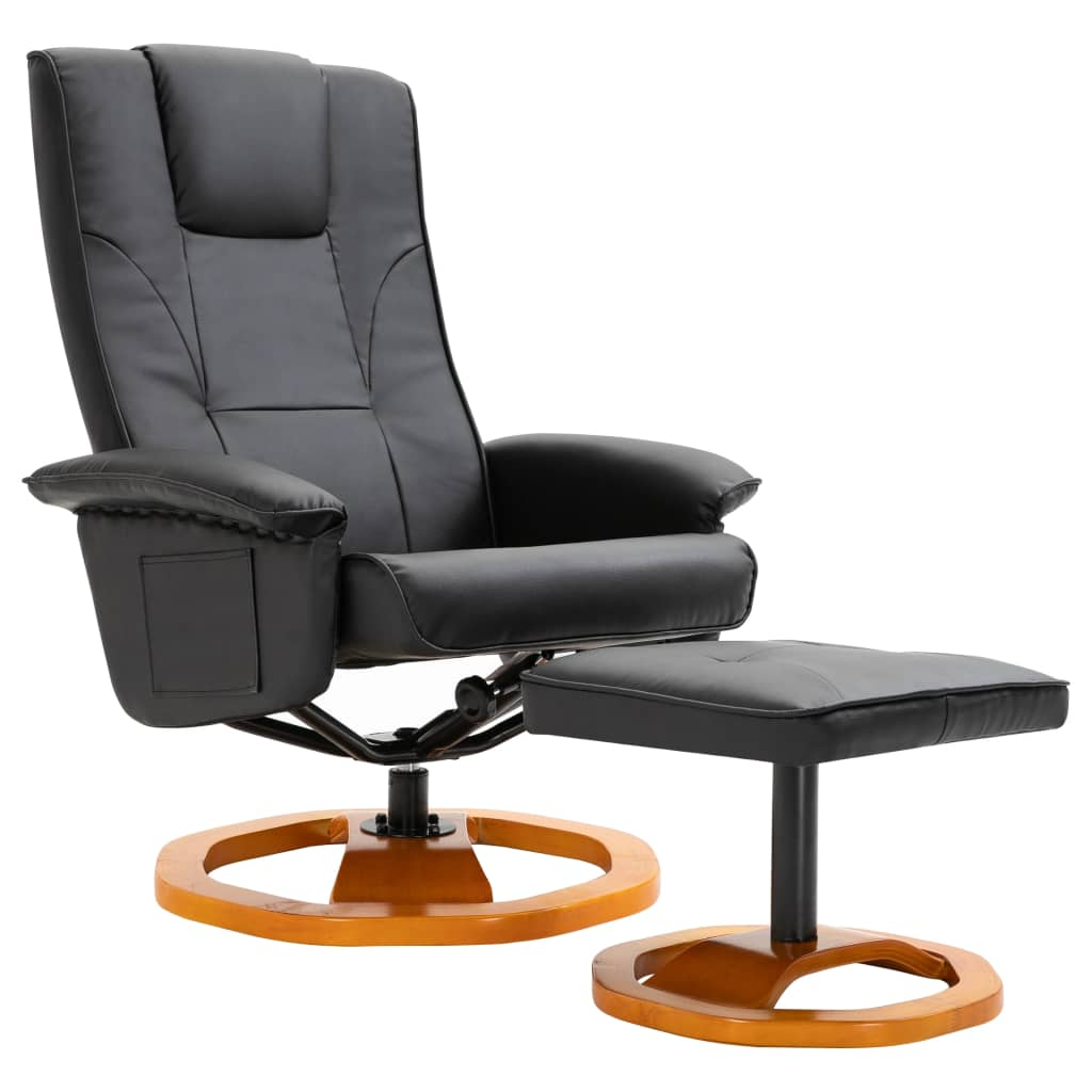 vidaXL Swivel TV Armchair with Foot Stool Black Thick ...