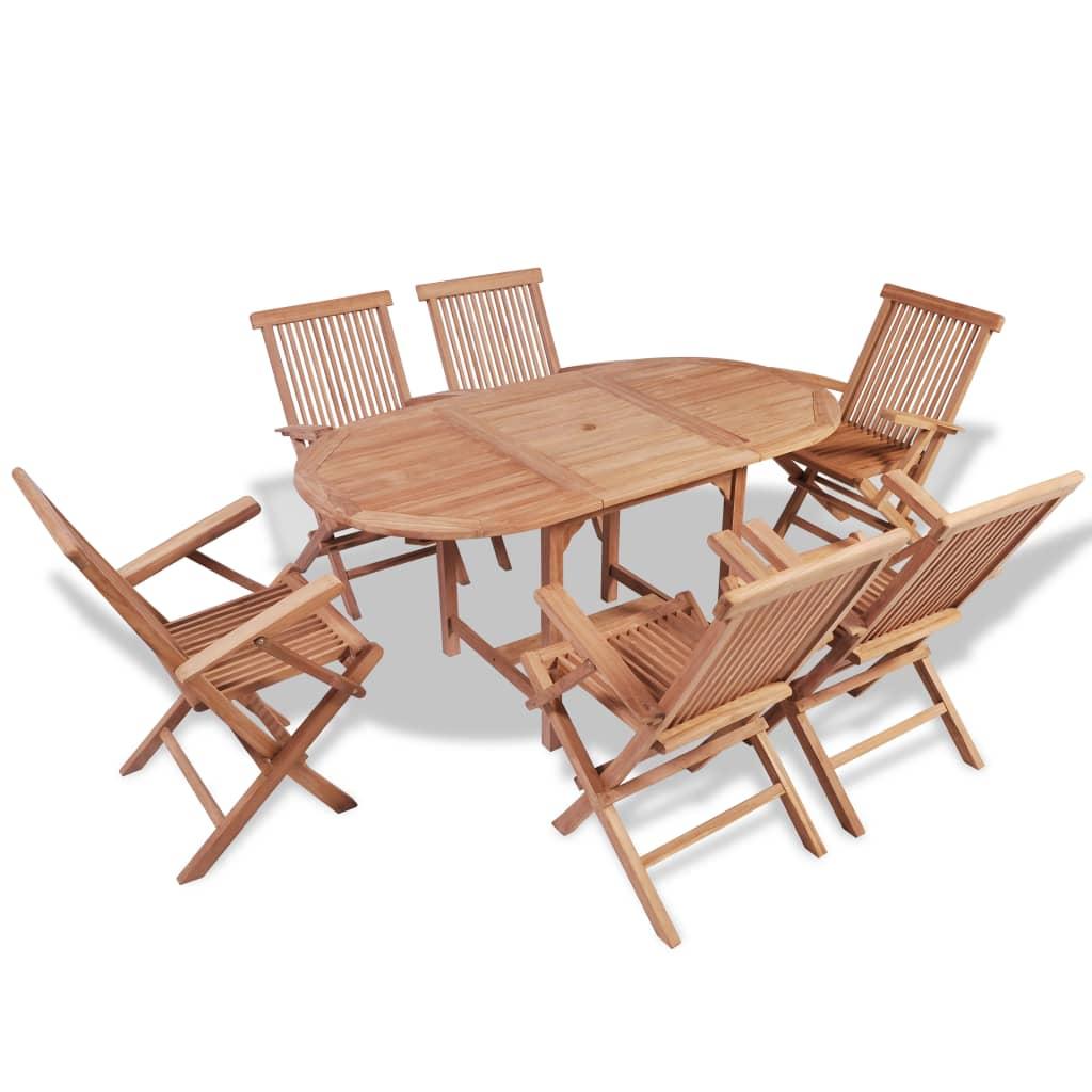 Sensational Vidaxl Teak Outdoor Dining Set 6 Seater Extendable Table Folding Chairs Garden Dailytribune Chair Design For Home Dailytribuneorg