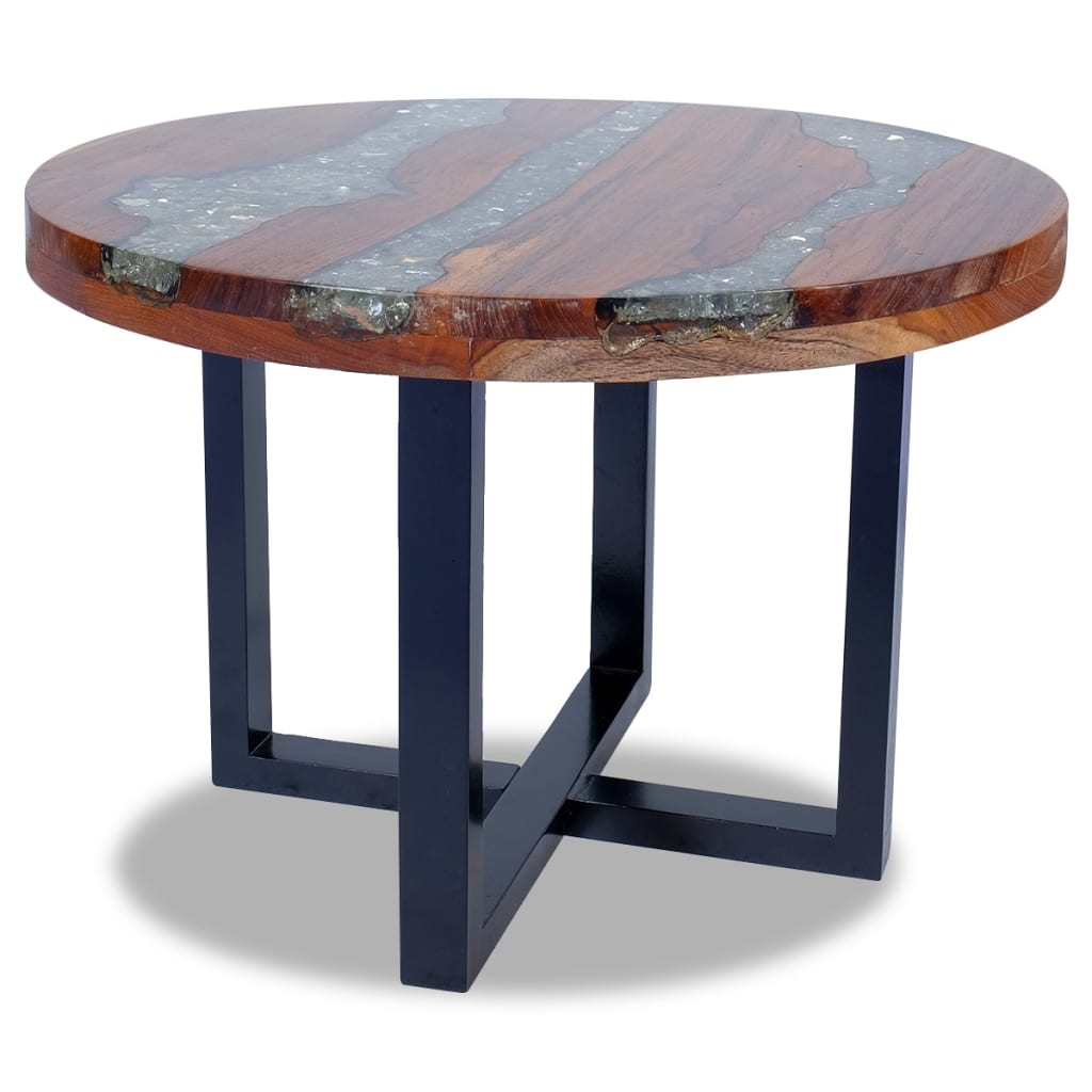 vidaXL Teak Resin Coffee Side Table Mango Wood Base Round ...