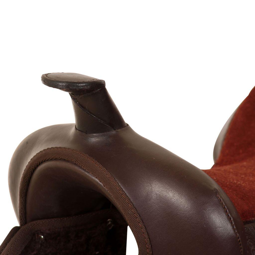 vidaXL Western Saddle Headstall/&Breast Collar Leather Brown//Black Multi Sizes