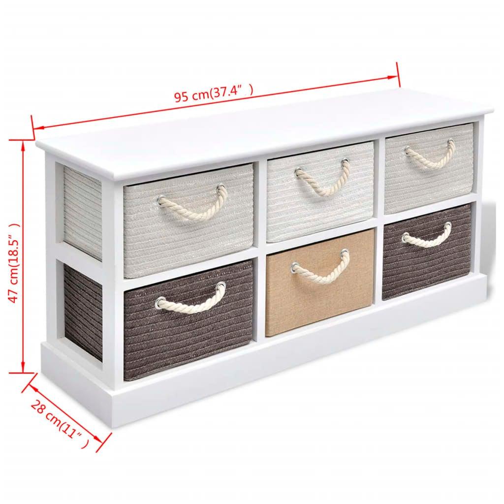 Super Vidaxl Storage Bench 6 Drawers Wood Chest Cabinet Hall Kitchen Entryway Rustic Uwap Interior Chair Design Uwaporg