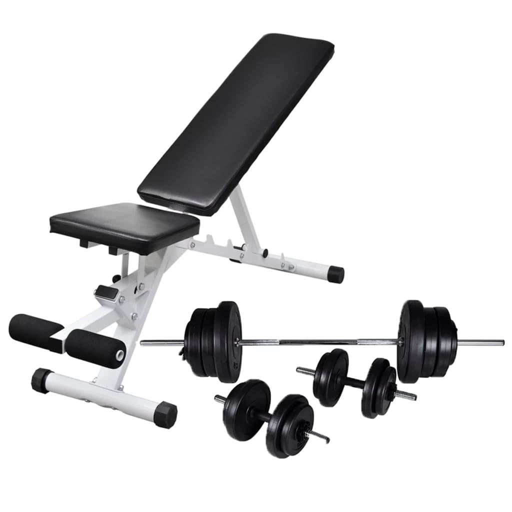 vidaXL Workout Bench with Barbell and Dumbbell Set 60.5kg Strength Training Buy Weight Benches