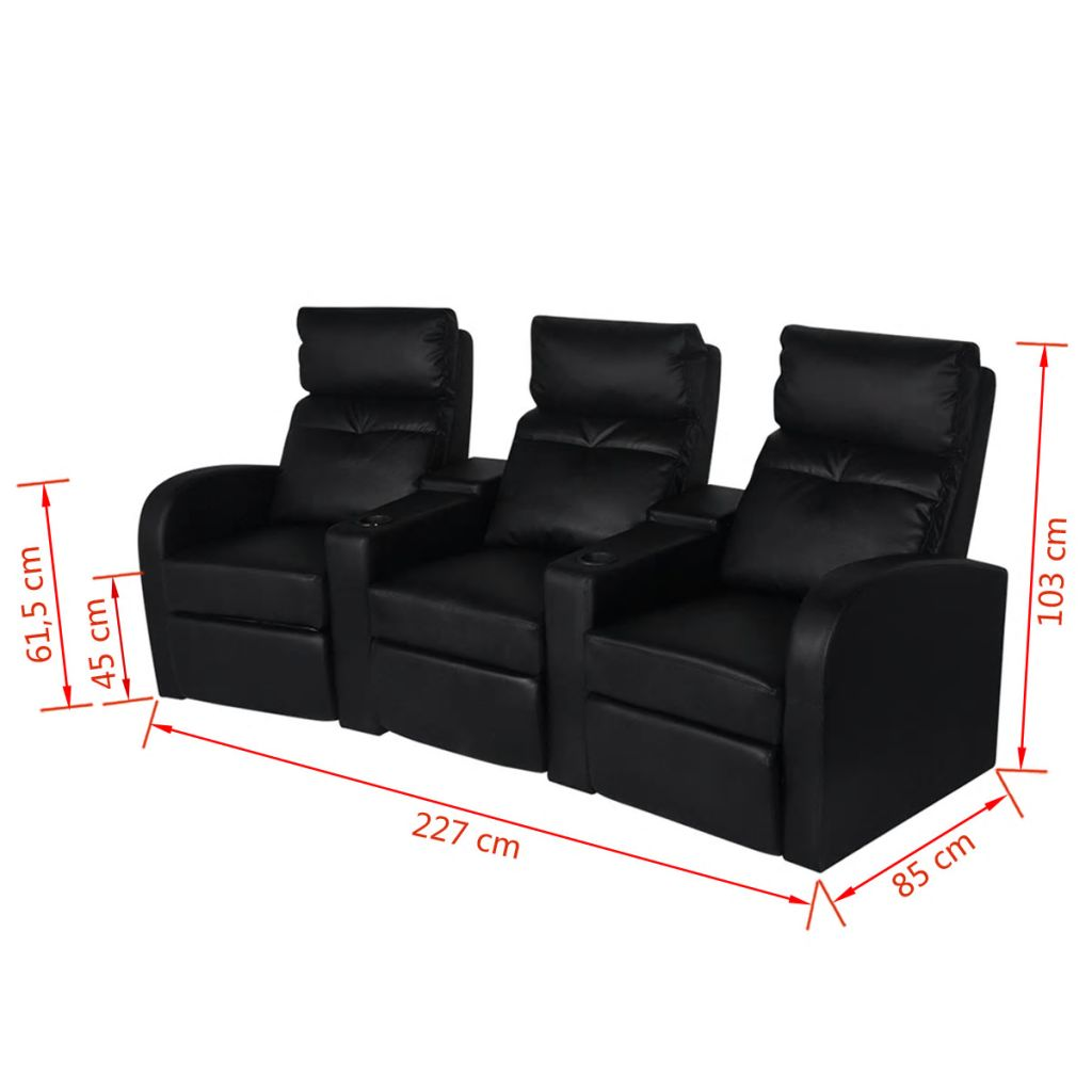 Vidaxl 3 Seater Pvc Leather Sofa Couch Home Theatre Cinema