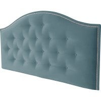 Amore Queen Chrome Stud Fabric Bed Head in Peacock