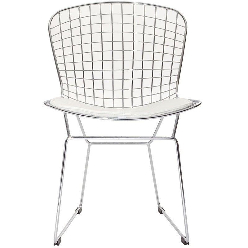 Cool Replica Harry Bertoia Wire Side Chair Chrome White Evergreenethics Interior Chair Design Evergreenethicsorg