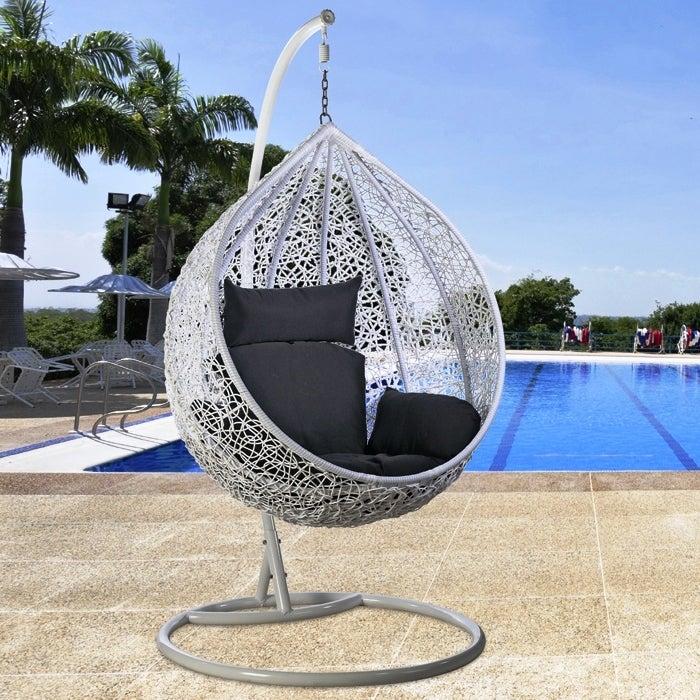 Sensational Single Hanging Egg Chair Rattan Wicker Outdoor Furniture White Creativecarmelina Interior Chair Design Creativecarmelinacom