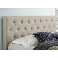 Polo Queen Fabric Upholstered Bed Head in Beige