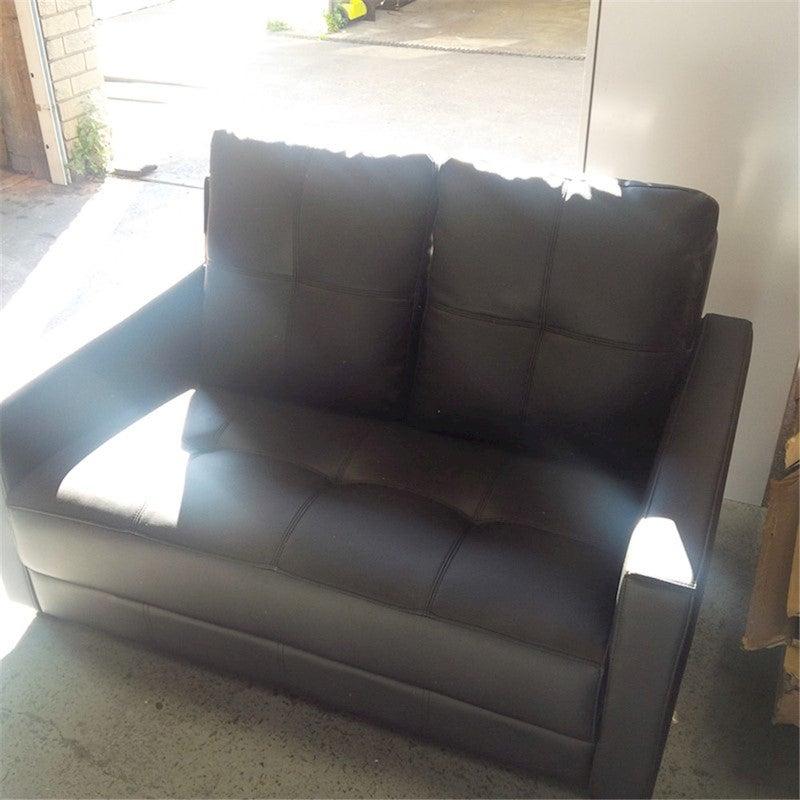 Priceworth 2 Seater PU Leather Sofa - Black, Comfortable ...