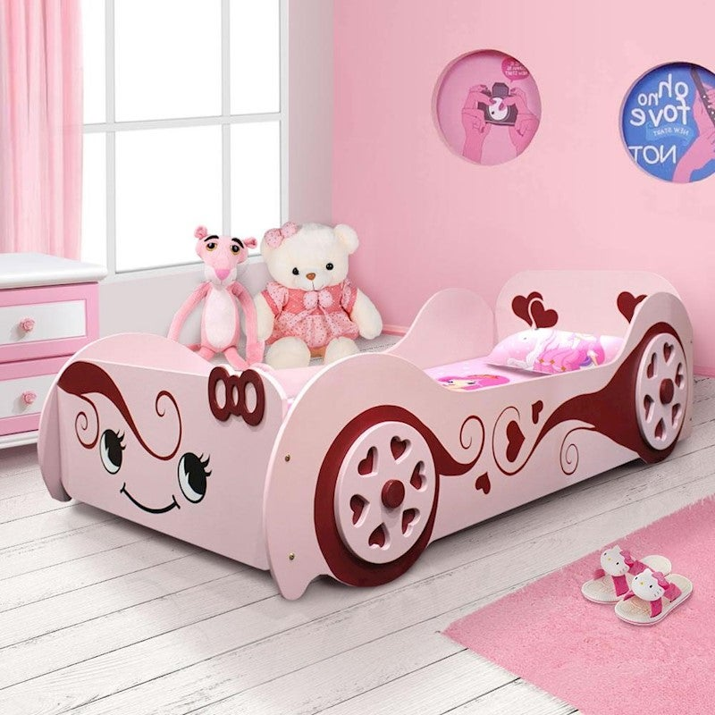 1 2 Cinderella Kids Racing Car Bed For Girls With Wooden Heart Shape Wheel In Pink