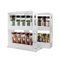 Rack Storage Slide Cabinet Organiser Pantry Kitchen Shelf Spice Jars Can Holder