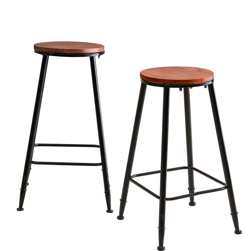 Incredible 2 Pcs Vintage Industrial Rustic Bar Stool Home Kitchen Round Wood Seat 75Cm High Ocoug Best Dining Table And Chair Ideas Images Ocougorg