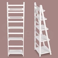 Wooden Ladder Shelf 5 Tier Stand Storage Book Shelves Display Rack White