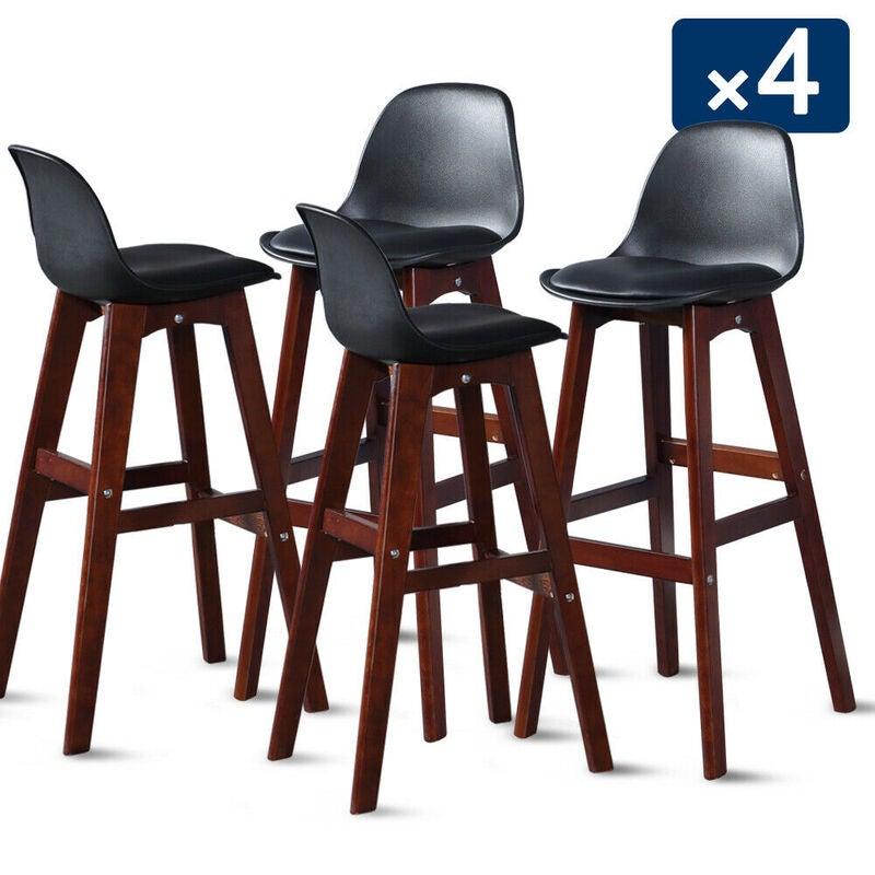 4x levede beech wooden bar stool kitchen stool dining