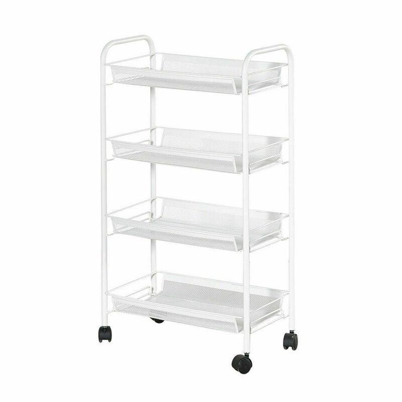Kitchen Trolley Cart 3/4/5 Tier Mesh Shelf Rolling Wheels Useful Storage  Rack