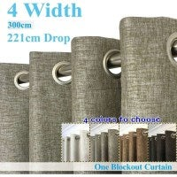 Linen Textured Eyelet Block Out Curtain 300x221cm