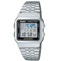 Casio A500WA-1 Vintage Classic Silver-Tone World Time Digital Watch