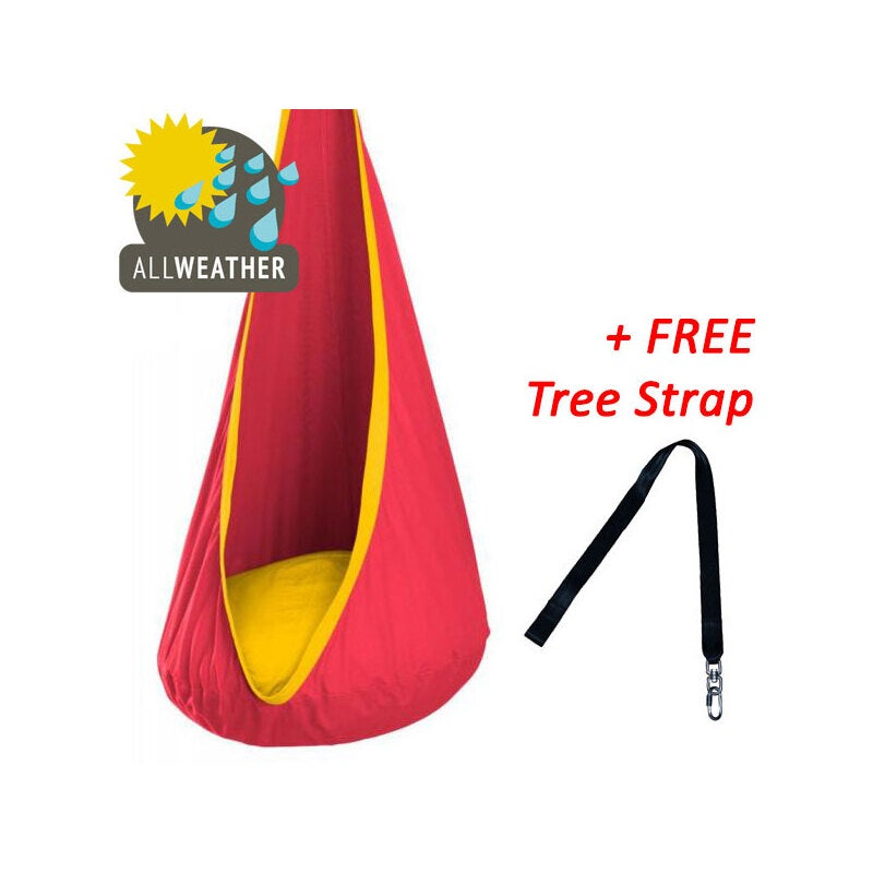 Terrific Red And Yellow Waterproof Outdoor Sensory Swing Pod Chair Bralicious Painted Fabric Chair Ideas Braliciousco