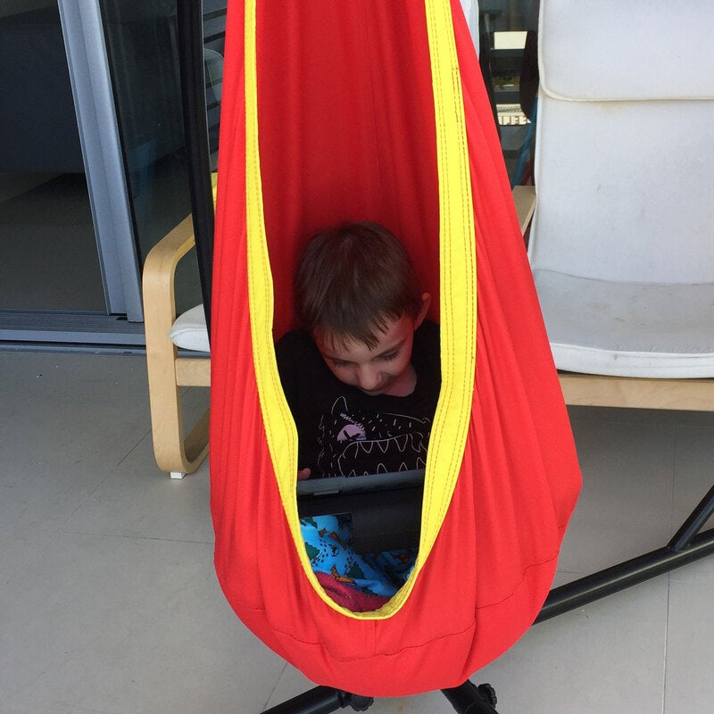 Prime Red And Yellow Waterproof Outdoor Sensory Swing Pod Chair Bralicious Painted Fabric Chair Ideas Braliciousco