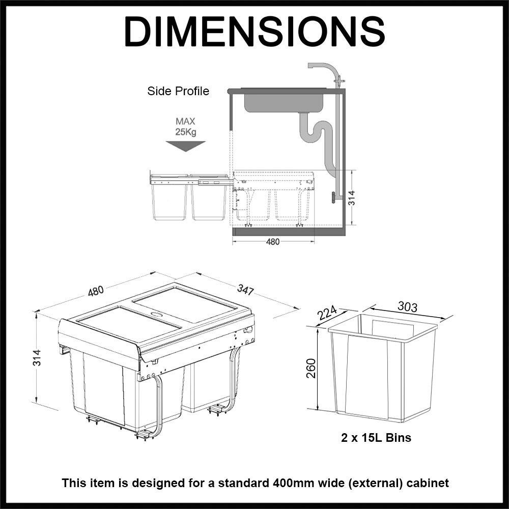 Domestique 30l Twin Pull Out Concealed Kitchen Waste Bin