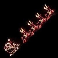 LED Santa Riding 4 Reindeer Deer Sleigh Christmas Rope Motif Light