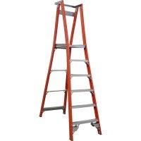 Indalex 6 Step Fibreglass Platform Ladder w/ Wheels