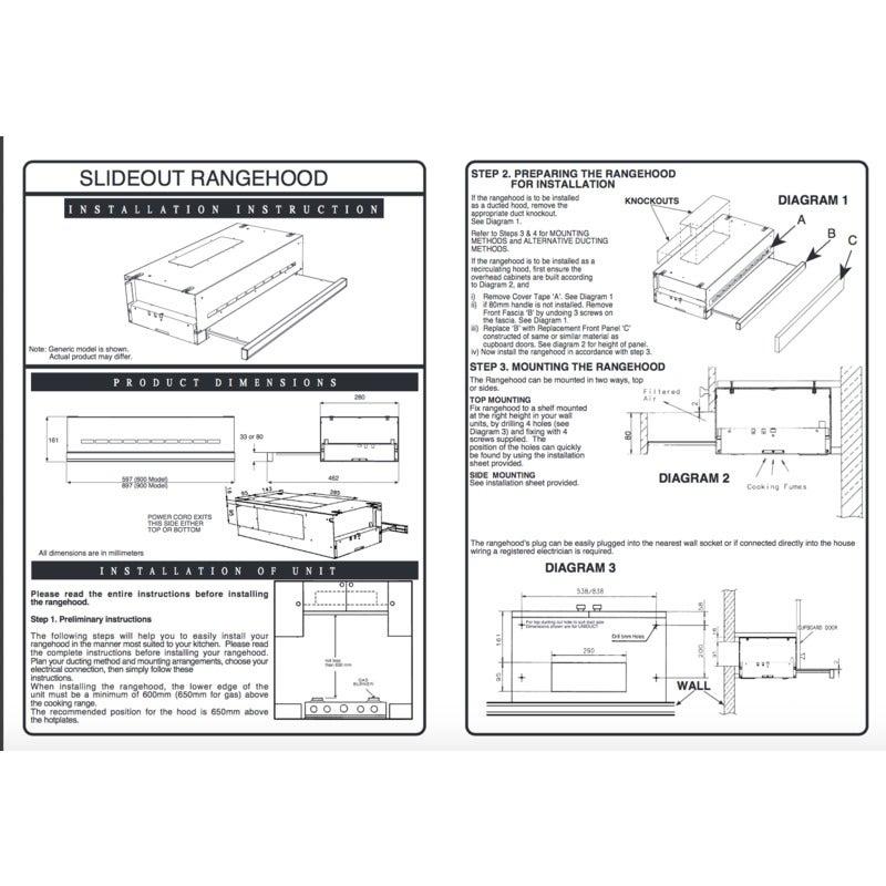 Ariston 90cm Slideout Stainless Steel Rangehood (old model) on