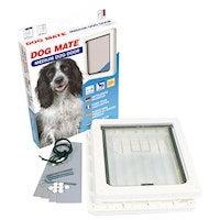 DOG MATE Premium Pet Door - (MEDIUM + White)