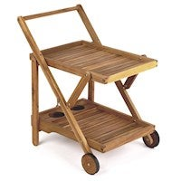 Drinks Trolley Natural Oil Stain Acacia Hardwood, Outdoor or Indoor, Foldable