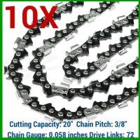 10x Chainsaw Chains for 20in Bar 0.058in Gauge 72DL