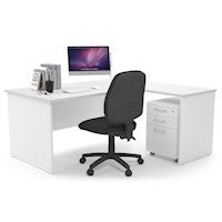 Litewall Panel - L-Shaped Corner Panel Office Desk White Leg [1600L x 1800W]