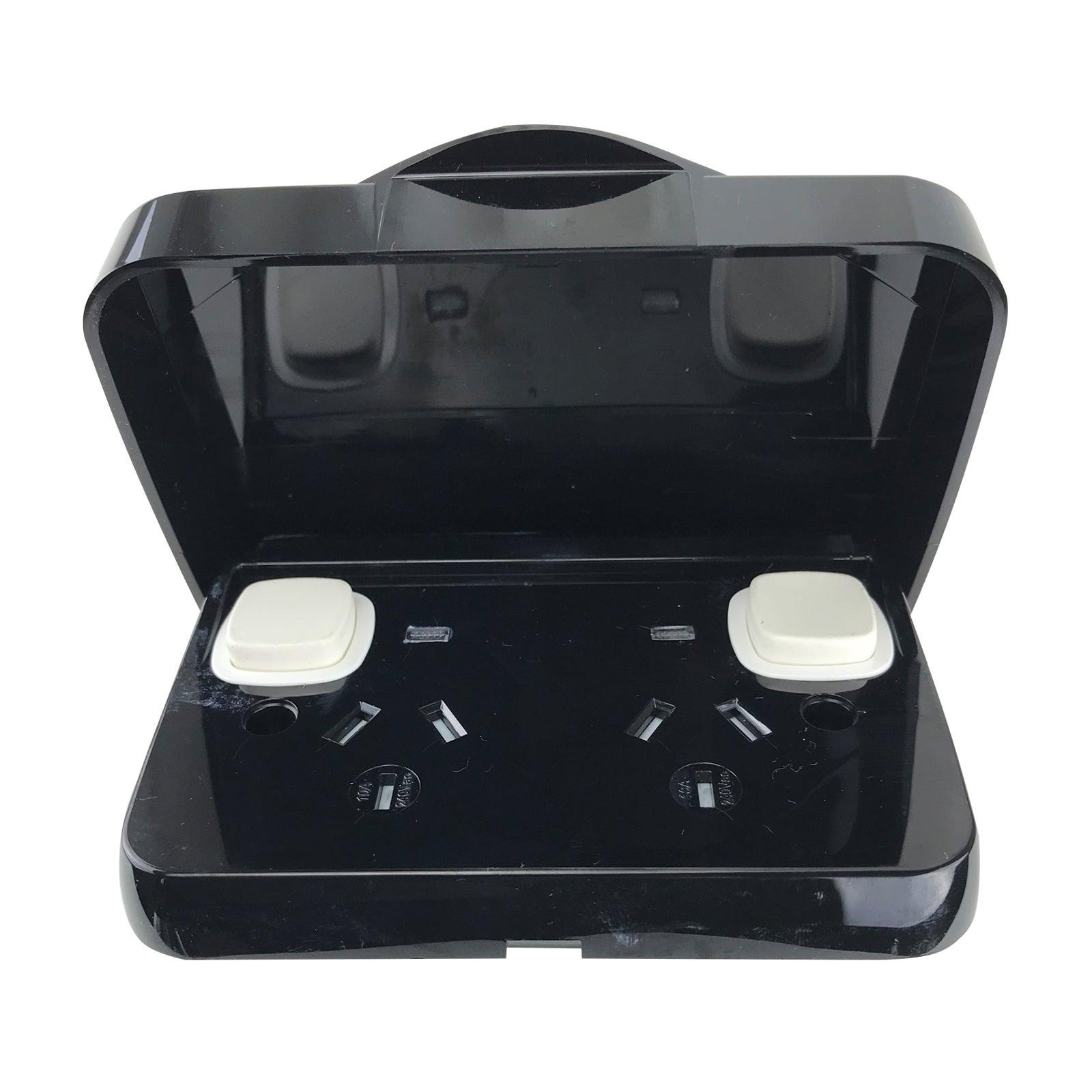 Weatherproof Double Pole Power Point Black 10 Amp Gpo Ip65