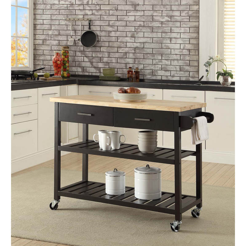 Kitchen Island Trolley With Open Shelves Black Buy Kitchen