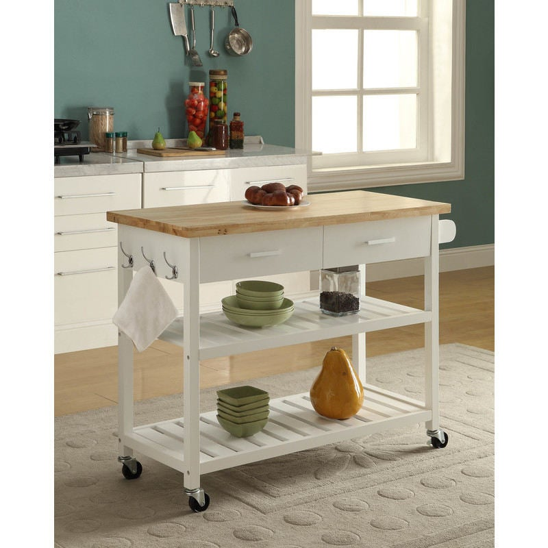 Kitchen Island Trolley With Open Shelves White Buy Kitchen