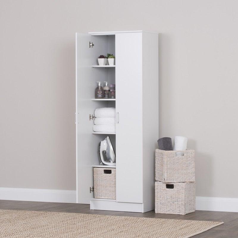Double Door 5 Tier Cupboard Cabinet in White 180cm | Buy ...