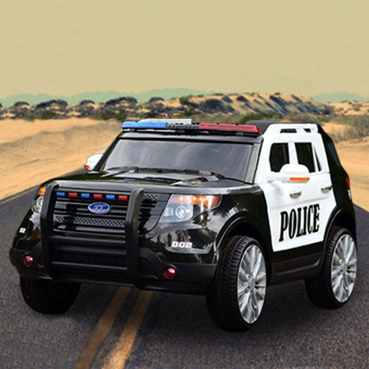 Kids Electric Ride On Police Car In Black/White 12V