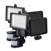 Black 2x 100 SMD LED Solar Powered Security Lights - L102