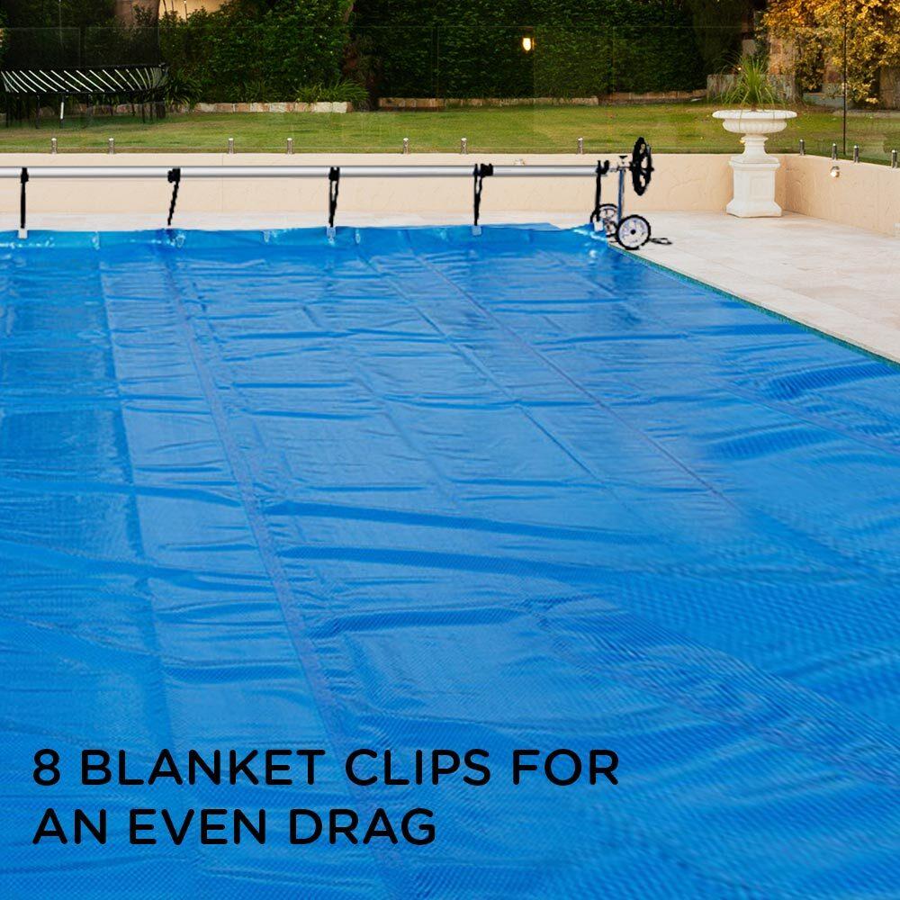 Swimming Pool Roller Cover Reel Adjustable Solar w/ Wheels Thermal Blanket  NEW