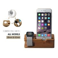 Bamboo Charging Stand Dock USB Station Holder for Apple Watch And Phone