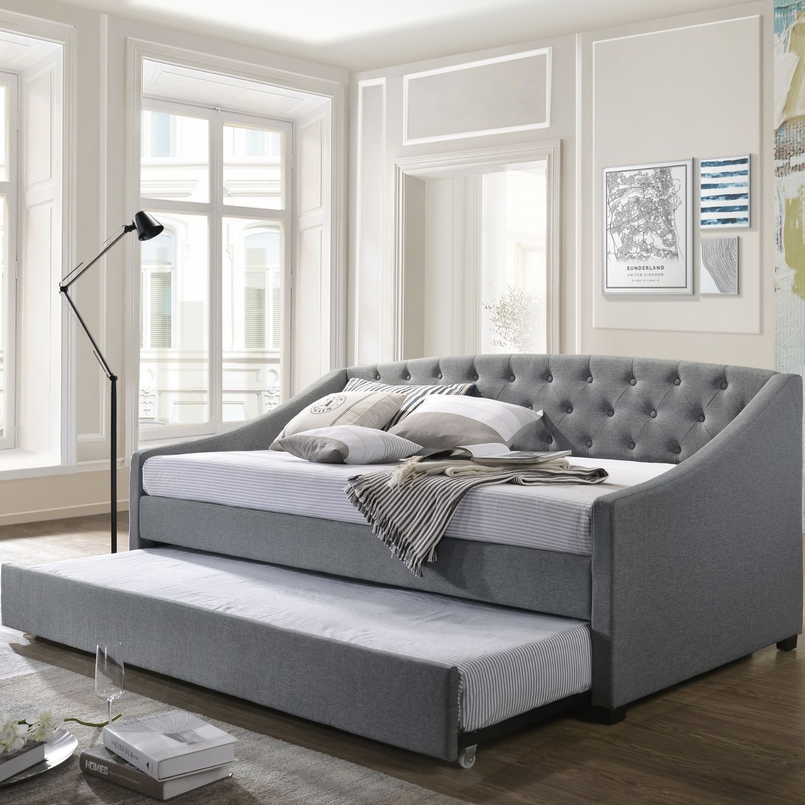 Daybed With Trundle Single Bed Frame Fabric Grey Buy