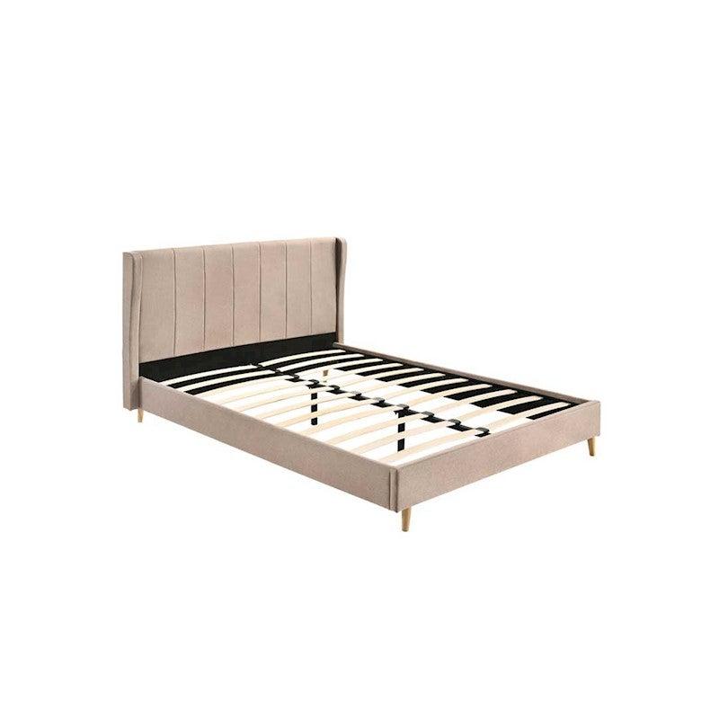 Designer Wingback Upholstered Fabric Bed Frame Double