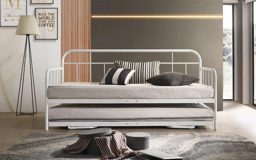 Everest Metal Daybed with Trundle Sofa Bed Frame Single ...