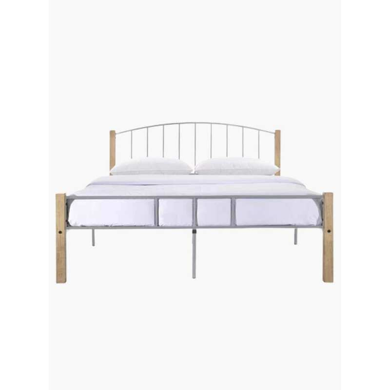 Luna King Metal Bed Frame With Solid Rubberwood Pole In